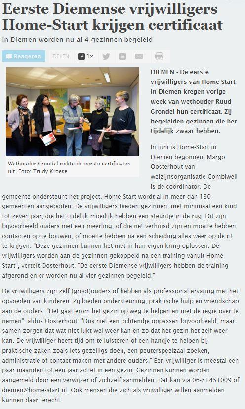 Home-Start Knipsel Diemer Courant